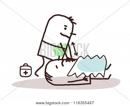 vector cartoon doctor giving first aid to a wounded man