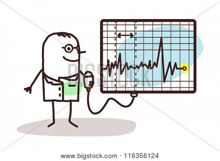 vector cartoon doctor with electrocardiogram