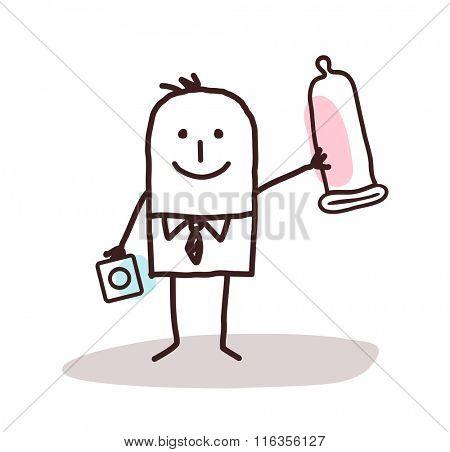vector cartoon man with condom
