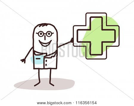 vector cartoon doctor with drugstore sign