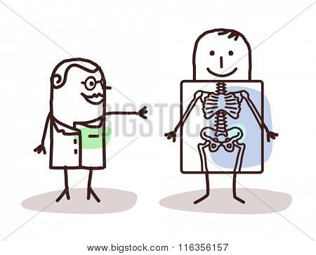 vector cartoon radiologist with patient