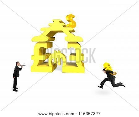 Businessman Carrying Euro With Another Shouting For Money Stacking Building