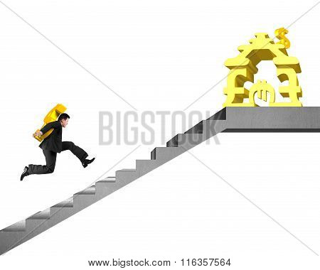 Man On Stairs Carrying Gold Usd To Money Stacking House
