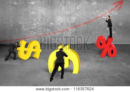 Leader On Percentage Symbol Shouting At Team Members For Working