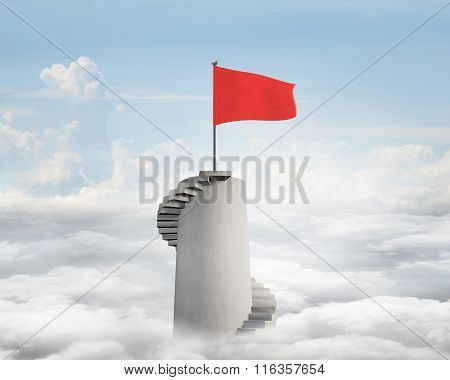 Wavy Flag On Spiral Stairs Tower Top With Blue Sky