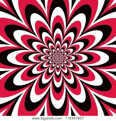 Infinite Flower in Red, Black and White