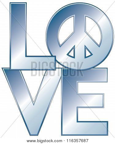 Love=Peace in Blue