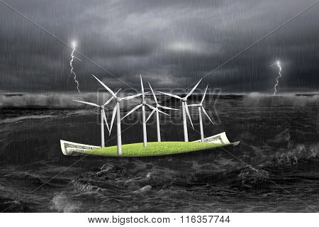 Wind Turbines On Money Boat In Dark With Storm