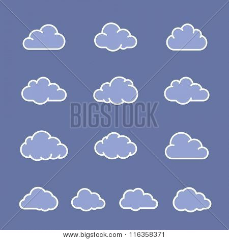 Vector illustration of cloud icons collection