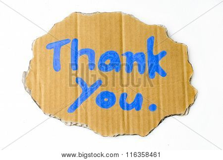 Thank you wording on cardboard isolated on white background