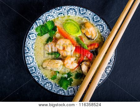 Asian Soup With Prawns, Tom Yam Kung . Thai Cuisine.