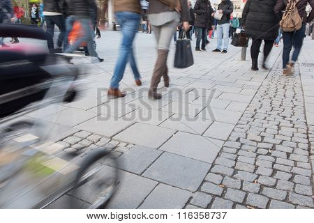 Blurred People In The Munich Pedestrian Zone