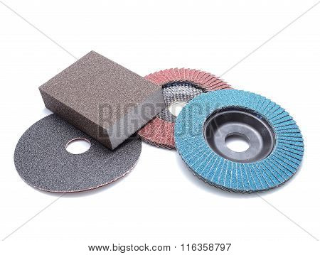 Flap abrasive wheels on white background