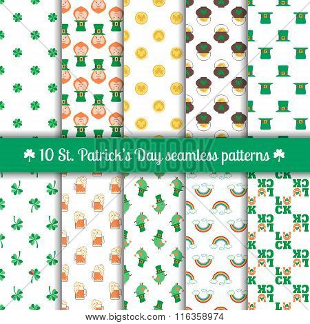Ten Seamless Patterns For Saint Patrick's Day Design