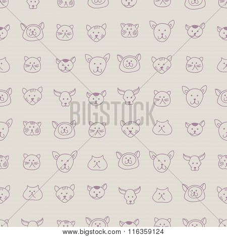 Cute seamless pattern with hand-drawn cat faces