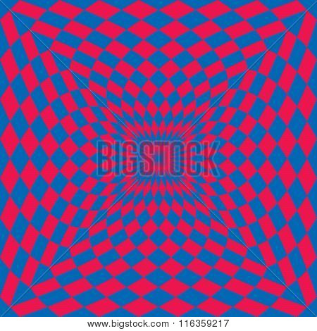 Optical Check Perspective in Red and Blue