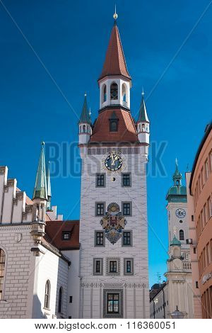 Sunlight Shining On Historic Building In Munich