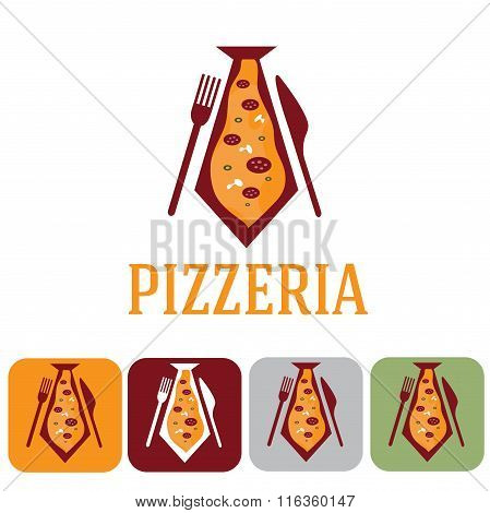 Pizzeria For Businessman And Icon Set Flat Design