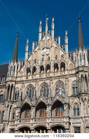 Munich Town Hall Detail In The Sun Against Blue Sky