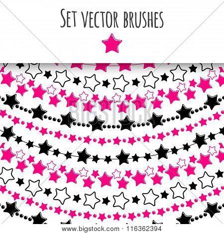 Set of vector decorative brushes. Stars. Vector illustration