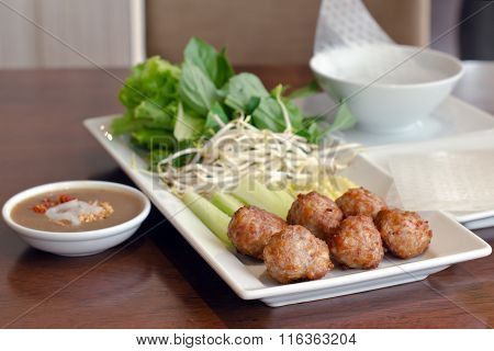Vietnamese Meatball And Vegetable Wrap