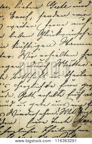 Antique handwriting letter with a text in undefined language. Manuscript. Parchment. Grunge paper background. Vintage style toned picture