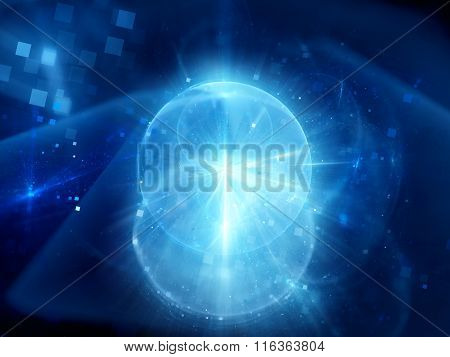 Blue Glowing Explosion Of Space Technology
