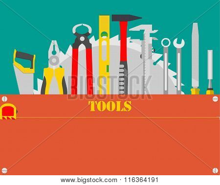 Poster with carpenter tool kit with space for text. Woodworking and carpentry, construction tools. V