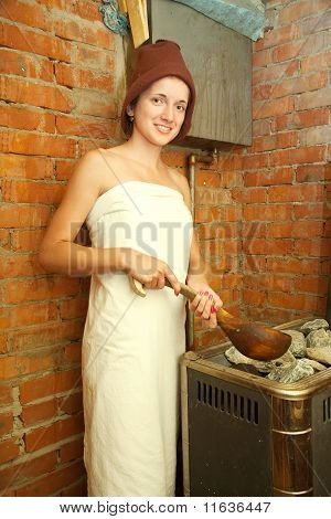 Girl Is Making Steam   At Sauna