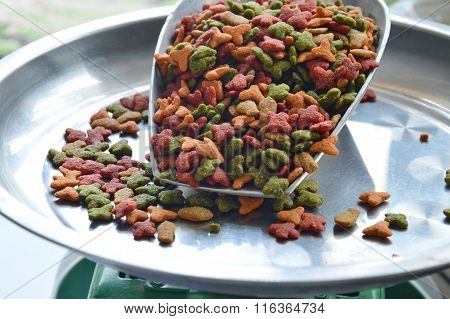 cat food in iron scoop on weighing scale tray