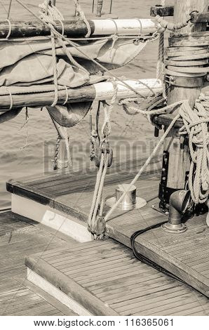 Blocks And Rigging Of An Old Sailboat, Close-up