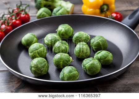 Fresh Organic Brussel Sprouts In A Frying Pan