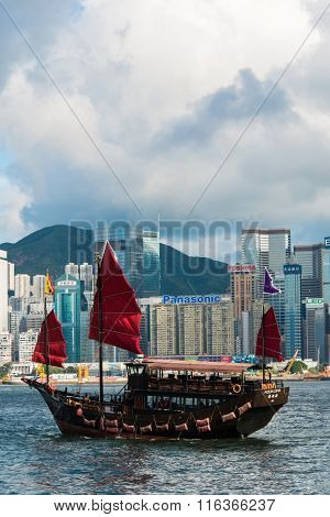 Hong Kong - JULY 27, 2014: Hong Kong Victoria Harbour on July 27 in China, Hong Kong. Aqua Luna is popular tourist attraction in HongHong Kong - JULY 27, 2014: