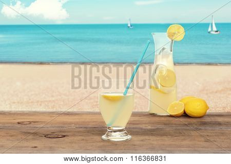 ice cold lemonade at the beach
