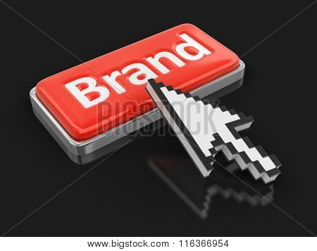 Cursor and button Brand. Image with clipping path