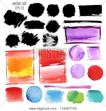 Watercolor and ink stains. Vector set of elements.