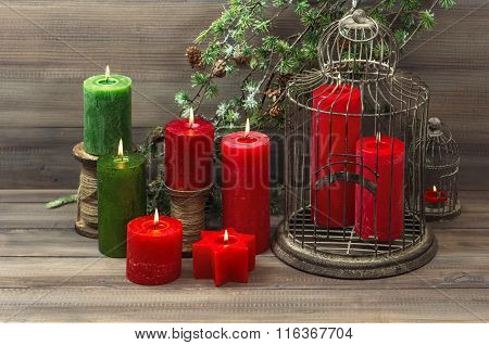 Vintage Christmas Decoration Red Burning Candles