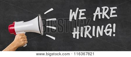 A Man Holding A Megaphone - We Are Hiring