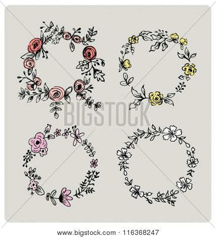 FLOWER DESIGN ELEMENTS. For Brand & identity, wedding or party invitations, greeting cards, print projects and more... Editable Vector illustrator file.