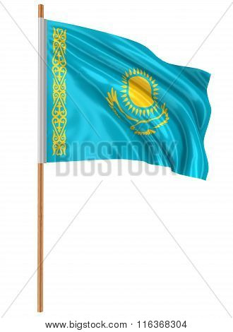 3D Kazakh flag with fabric surface texture. White background.