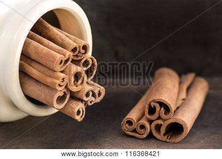 Two Groups Of Cinnamon Sticks