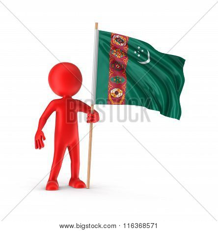 Man and Turkmenistan flag. Image with clipping path