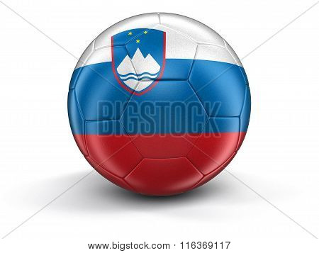 Soccer football with Slovene flag. Image with clipping path