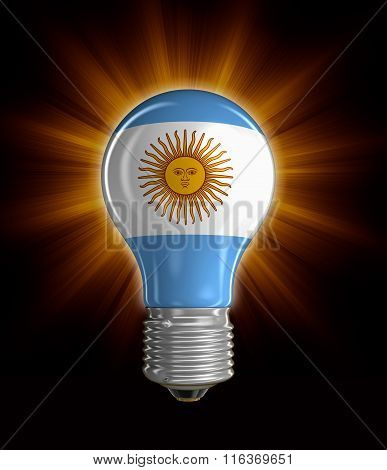 Light bulb with Argentina flag.  Image with clipping path