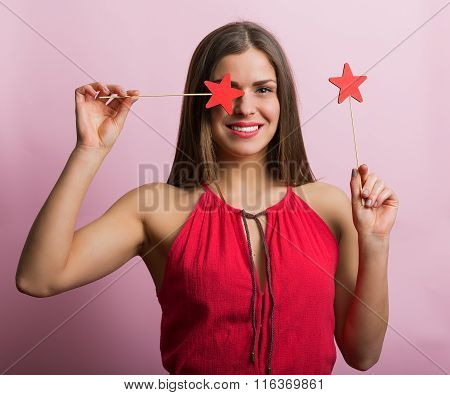 Woman In Red Dress With Stars