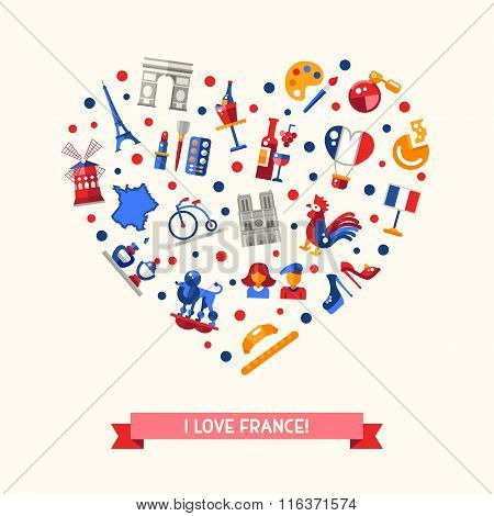 France travel icons heart postcard with famous French symbols