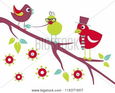 Birds On The Tree. Stylized Cartoon.