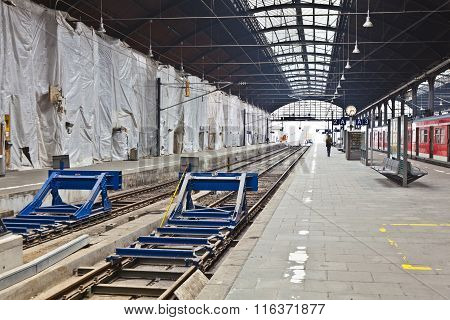 WIESBADEN, GERMANY - MAY 4, 2011: classicistical railway station in Wiesbaden Germany with empty platform