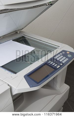 Grey Computer Printer Or Copy Machine Isolated
