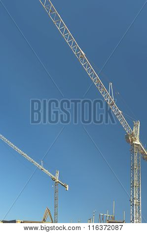 Modern Buidling Construction Site With Crane. Hdr Image.